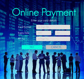 Het online Concept van de Betaalkaartinformatie Stock Foto