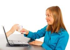 Het online Concept van de Geldoverdracht Stock Foto's
