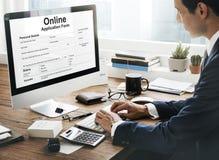 Het online Concept van het Aanvraagformulierdocument royalty-vrije stock foto