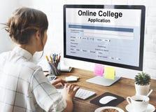 Het online Concept van het UniversiteitsAanvraagformulier royalty-vrije stock afbeelding