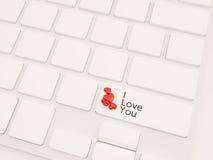 Het online 3d liefdeconcept, geeft terug Stock Foto