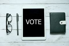 Het online digitale van de de verkiezingsoverheid van de stempolitiek concept van de de democratietechnologie Hoogste mening van  royalty-vrije stock foto