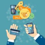 Het online het winkelen elektronische handelconcept mobiele winkelen Royalty-vrije Stock Afbeelding
