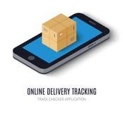 Het online isometrische pictogram van het leverings volgende concept Stock Fotografie