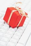 Het online Kerstmis winkelen Stock Foto