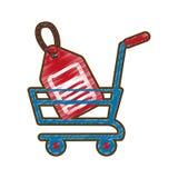 Het online prijskaartje van het tekeningsboodschappenwagentje Stock Fotografie