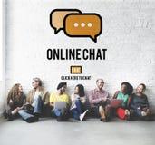 Het online van het Communicatie Globale Concept Praatjegesprek Stock Fotografie