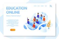 Het online vectormalplaatje van het onderwijs vlakke landingspagina royalty-vrije illustratie