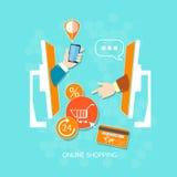 Het online winkel en elektronische handelconcept van website mobiele betalingen Royalty-vrije Stock Afbeeldingen