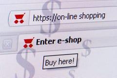Het online winkelen Stock Foto's