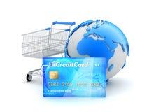 Het online winkelen - conceptenillustratie Stock Fotografie