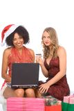 Het online winkelen van Kerstmis Stock Foto