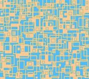 Het onregelmatige vierkanten en rechthoekenpatroon oranje lichtblauwe bedekken Stock Foto