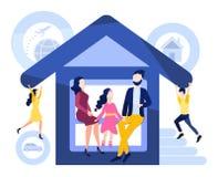 Het onroerende goederen leven en ziektekostenverzekering, persoonlijke bezittingen, autoOngevallenverzekering tijdens de reis vector illustratie