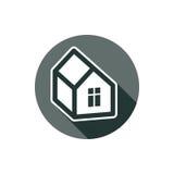 Het onroerende goederenpictogram dat op wit, vector abstract huis wordt geïsoleerd schildert af Royalty-vrije Stock Fotografie