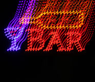 Het onscherpe teken van de neonbar met een wijnfles Stock Fotografie