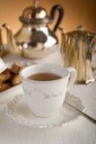 Het ontbijt van de luxe met thee stock fotografie
