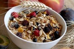 Het ontbijtrijken van Muesli in vezel Stock Foto