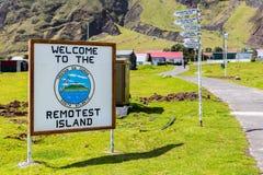 Het onthaal aan het Verste toeristische Eiland voorziet en afstand aan andere plaatsen in het stadscentrum van wegwijzers van Edi royalty-vrije stock foto's