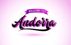 Het Onthaal van Andorra aan Creatieve Tekst Met de hand geschreven Doopvont met Purper Roze Kleurenontwerp vector illustratie