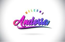 Het Onthaal van Andorra aan Word Tekst met de Creatieve Purpere Roze Met de hand geschreven Doopvont en Swoosh-Vector van het Vor royalty-vrije illustratie