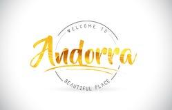 Het Onthaal van Andorra aan Word Tekst met Met de hand geschreven Doopvont en Gouden Te vector illustratie