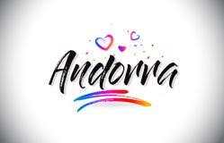 Het Onthaal van Andorra aan Word Tekst met Liefdeharten en de Creatieve Met de hand geschreven Vector van het Doopvontontwerp vector illustratie