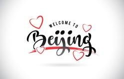 Het Onthaal van Peking aan Word Tekst met Met de hand geschreven Doopvont en Rode Liefde royalty-vrije illustratie