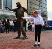 Het onthullen van monument aan Michael Jackson. Stock Foto