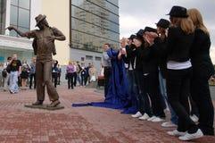 Het onthullen van monument aan Michael Jackson. Stock Afbeeldingen
