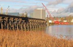 Het ontmantelen van een Canadese Brug van de Spoorwegschommeling Royalty-vrije Stock Foto's