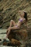 Het ontspannen aantrekkelijke donkerbruine meisje die purpere bikini dragen stelt op de rots door het overzees Royalty-vrije Stock Afbeelding