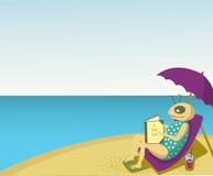 Het ontspannen bij het strand Stock Afbeelding