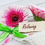 Het ontspannen met bloemen royalty-vrije stock foto's