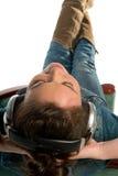 Het ontspannen met de muziek Stock Fotografie