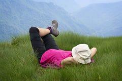 Het ontspannen over de bergen Royalty-vrije Stock Foto's