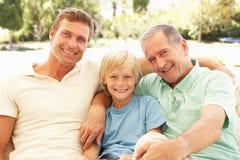Het Ontspannen van de grootvader, van de Zoon en van de Kleinzoon op Bank Stock Afbeelding