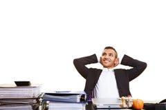 Het ontspannen van de manager bij de het werkruimte royalty-vrije stock foto