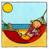 Het ontspannen van de mens in hangmat Stock Foto