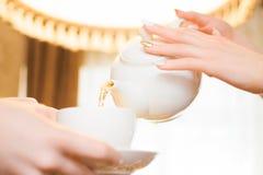 Het ontspannen van de vrouw drinkt thee De vrouwen gieten groene thee in een witte Kop royalty-vrije stock afbeelding
