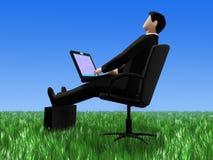 Het ontspannen van de zakenman in gras stock illustratie