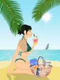Het Ontspannen van het meisje op het Strand royalty-vrije illustratie