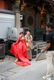Het ontspruiten op de straten van Singapore Stock Foto's