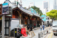 Het ontspruiten op de straten van Singapore Royalty-vrije Stock Foto's