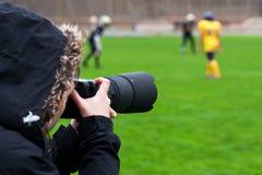 Het ontspruiten van de fotograaf rugby royalty-vrije stock foto's