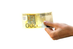 Het ontvangen van 200 euro Royalty-vrije Stock Foto's