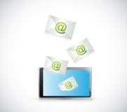Het ontvangen van post op een tablet. illustratieontwerp Stock Fotografie