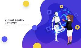 Het ontvankelijke ontwerp van het Webmalplaatje, de gegevensproces van het meisjesbeheer van een humanoidrobot door VR-glazen voo royalty-vrije illustratie