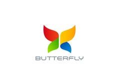 Het ontwerp abstract vectormalplaatje van het vlinderembleem Het kleurrijke pictogram van het Vermaak logotype concept Vector Illustratie