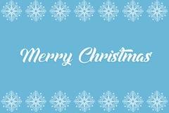 Het ontwerp blauwe achtergrond van sneeuwvlokkerstmis De achtergrond van de sneeuw Vrolijke Kerstmis Kaart met sneeuwvlokken De w stock illustratie